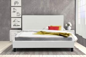 Κρεβάτι Nevil διπλό 150x200 τεχνόδερμα PU χρώμα λευκό ματ με ανατομικές τάβλες