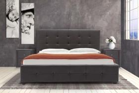 Κρεβάτι Roi διπλό 160x200 τεχνόδερμα PU χρώμα σκούρο καφέ ματ+αποθηκευτικό χώρο με ανατομικές τάβλες