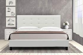 Κρεβάτι Desi διπλό 160x200 τεχνόδερμα PU χρώμα λευκό ματ με ανατομικές τάβλες