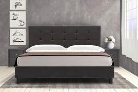 Κρεβάτι Desi διπλό 160x200 τεχνόδερμα PU χρώμα σκουρό καφέ ματ με ανατομικές τάβλες
