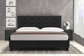Κρεβάτι Desi διπλό 160x200 τεχνόδερμα PU χρώμα μαύρο ματ με ανατομικές τάβλες