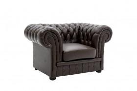 Πολυθρόνα τύπου chesterfield με PU χρώμα σκούρο καφέ 125x90x75