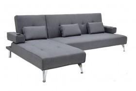 Γωνιακός καναπές κρεβάτι Luxury υφασμάτινος σε γκρι χρώμα 258x156x84