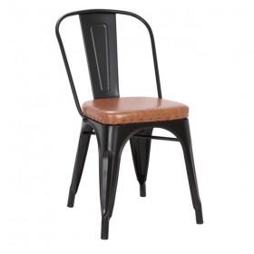 Καρέκλα Μεταλ. Μαύρη Matte/PU Camel/ E5191P,14M / ΔΙΑΣΤΑΣΕΙΣ 45x51x82cm