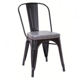Καρέκλα Μεταλ. Μαύρη Matte/PU Σκ.Γκρι/ E5191P,12M /ΔΙΑΣΤΑΣΕΙΣ 45x51x82cm
