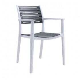 Πολυθρόνα PP Άσπρο/Γκρι/ E350,12 / ΔΙΑΣΤΑΣΕΙΣ 58x54x86cm