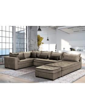 King Big Zeus καναπές σε σχήμα Π 370x200x230 και σκαμπό 60x100cm Bazaar με αδιάβροχο-easy clean ύφασμα