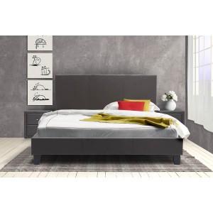 Κρεβάτι Nevil διπλό 150x200 τεχνόδερμα PU χρώμα σκούρο καφέ ματ με ανατομικές τάβλες