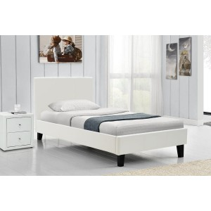 Κρεβάτι Nevil μονό 100x200 τεχνόδερμα PU χρώμα λευκό ματ με ανατομικές τάβλες