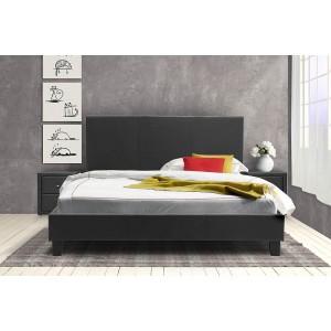 Κρεβάτι Nevil διπλό 150x200 τεχνόδερμα PU χρώμα μαύρο ματ με ανατομικές τάβλες