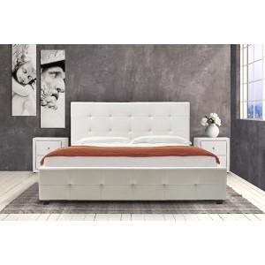 Κρεβάτι Roi διπλό 160x200 τεχνόδερμα PU χρώμα λευκό ματ+αποθηκευτικό χώρο με ανατομικές τάβλες