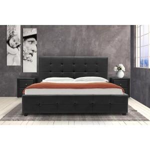 Κρεβάτι Roi διπλό 160x200 τεχνόδερμα PU χρώμα μαύρο ματ+αποθηκευτικό χώρο με ανατομικές τάβλες