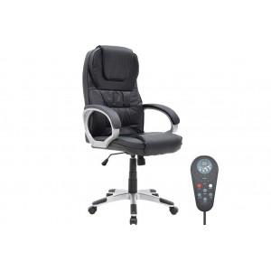 Καρέκλα γραφείου relax με μηχανισμό massage και θερμαινόμενη πλάτη με τεχνόδερμα pu χρώμα μαύρο