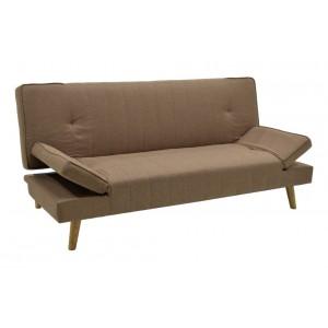 Καναπές - κρεβάτι Lito υφασμάτινος χρώματος ανοικτό καφέ 183x87x84