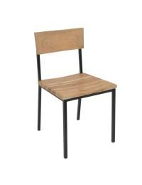 Καρέκλα Μεταλ.Μαύρο/Ξύλο Ακακία Φυσικό / EA7027 / 44x46x85 cm